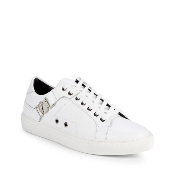 Versace Collection Logo Plaque Leather Sneakers